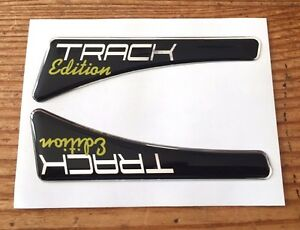 TRACK-EDITION-Sticker-Decal-Yellow-Font-FRONT-WING-SHAPE-HIGH-GLOSS-DOMED-GEL