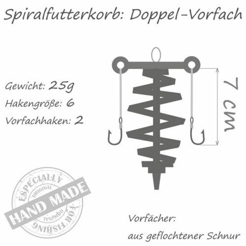 Doppel Vorfach Spiral Futterkorb 2 Seitenarme Vorfächer 25 g Haken Gr 6 Brachsen