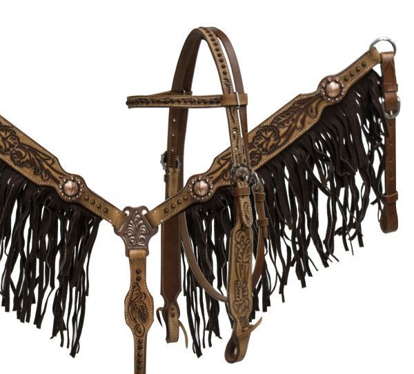 Showman Tooled Leather  Bridle & Breast Collar Set w  Antique Concho & Fringe NEW  buy discounts