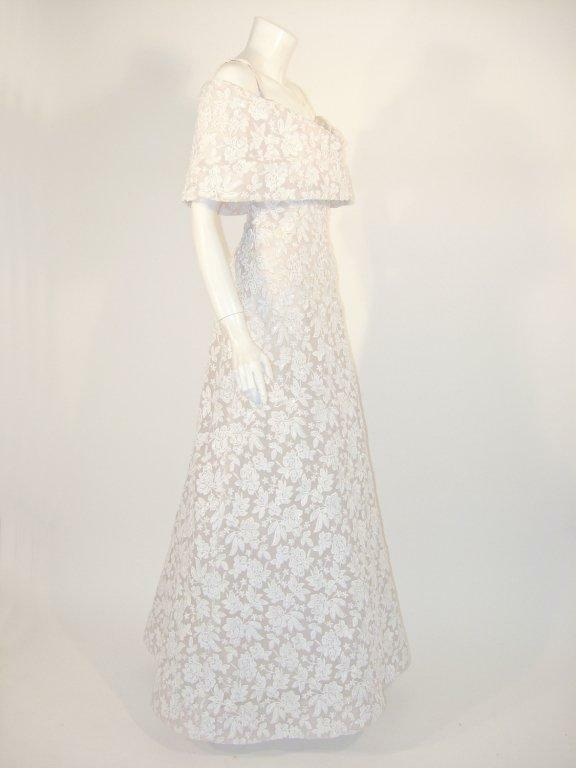 ARNOLD SCAASI White Floral Wedding Gown with Sequ… - image 3