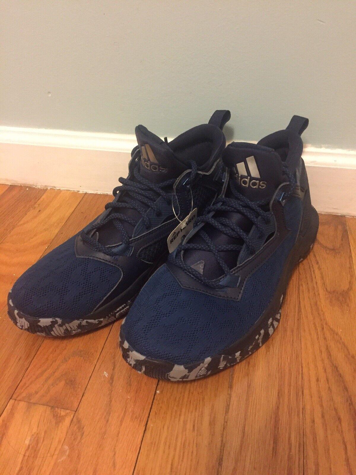New Adidas D Lillard 2 Size 8 bluee Grey Black (B42380) Basketball shoes