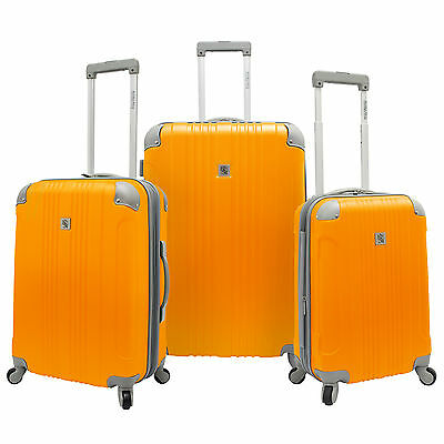 Beverly Hill Country Club 3pc Malibu Newport Orange Spinner Luggage Suitcase Set