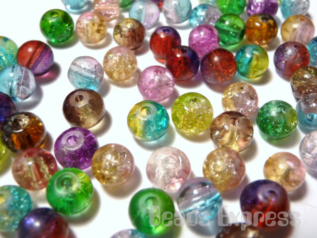 100 Crackle Glass Round Beads- Mix Colours 6mm (AR6001)