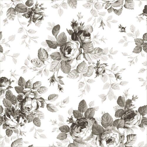 Rasch Pretty Nostalgic 138112 Tapete große Rosen weiß grau schwarz Vliestapete
