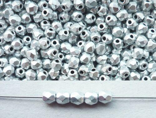 100 Stück feuerpolierte Glasschliffperlen 3mm Silber matt Aluminium # K01700