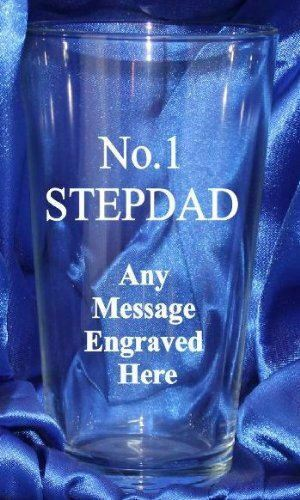 ENGRAVED NO1 STEPDAD PINT GLASS PG78 IN SILK LINED GIFT BOX