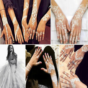 Lace Transfer White Henna Hand Arm Temporary Tattoo Sticker Art