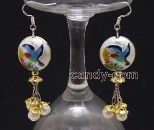 SALE-18mm-Round-White-Cloisonne-amp-6-7mm-White-Natural-Pearl-Dangle-earring-ea595