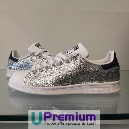 Adidas stan smith argento blu - brillantini scarpe [im customizzato] scarpe brillantini ex 4f641f