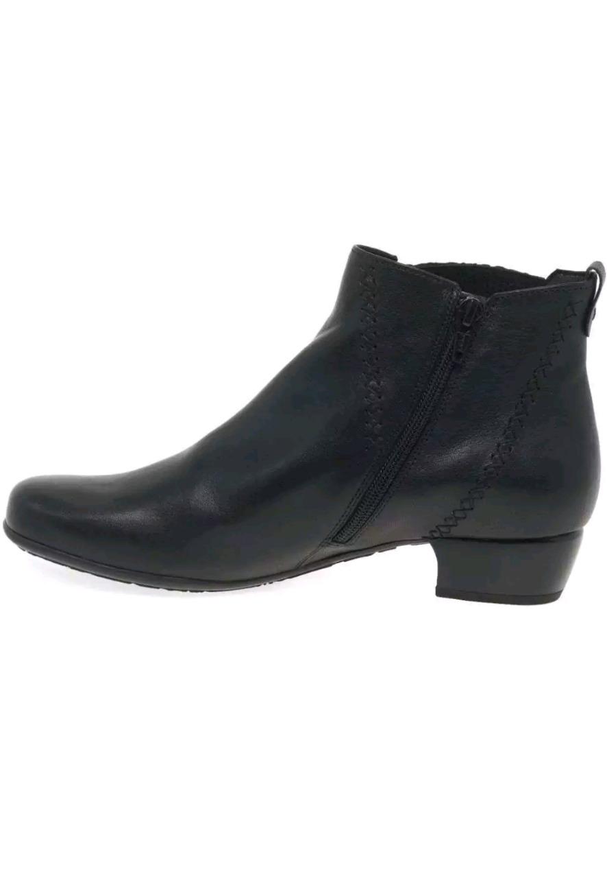 Gabor Ay Damas Botas al Tobillo moderno Calce Ancho-Cuero Negro