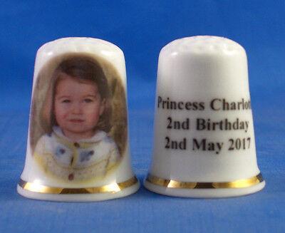 BIRCHCROFT PORCELAIN CHINA THIMBLE -  PRINCESS CHARLOTTE 2ND BIRTHDAY - FREE BOX