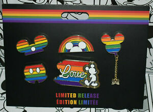 Disney Store Mickey Mouse Rainbow Disney Pin Set 5 Pins Limited Release.