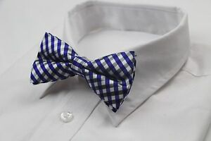MENS-CHECKERED-BLUE-BLACK-WHITE-BOW-TIE-Pretied-Wedding-Formal-Patterned-CHEAP