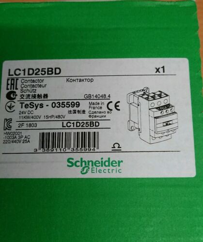 3NO 11 kW 25 A 24 V dc Coil LC1D25BD 3 Pole Contactor Screw Terminal