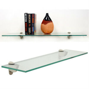 12 X 21 Inch Clear Rectangle Floating Tempered Glass Shelf Kit 38