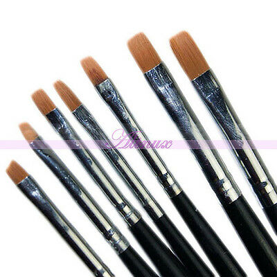 7Pcs Acrylic Drawing Painting Builder Pen Brush UV Gel Set Nail Art False Tips