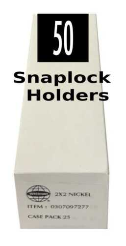 50 Coin Snaplock 2x2 Clear Plastic Holders For Nickel Long Term Storage 2 Packs