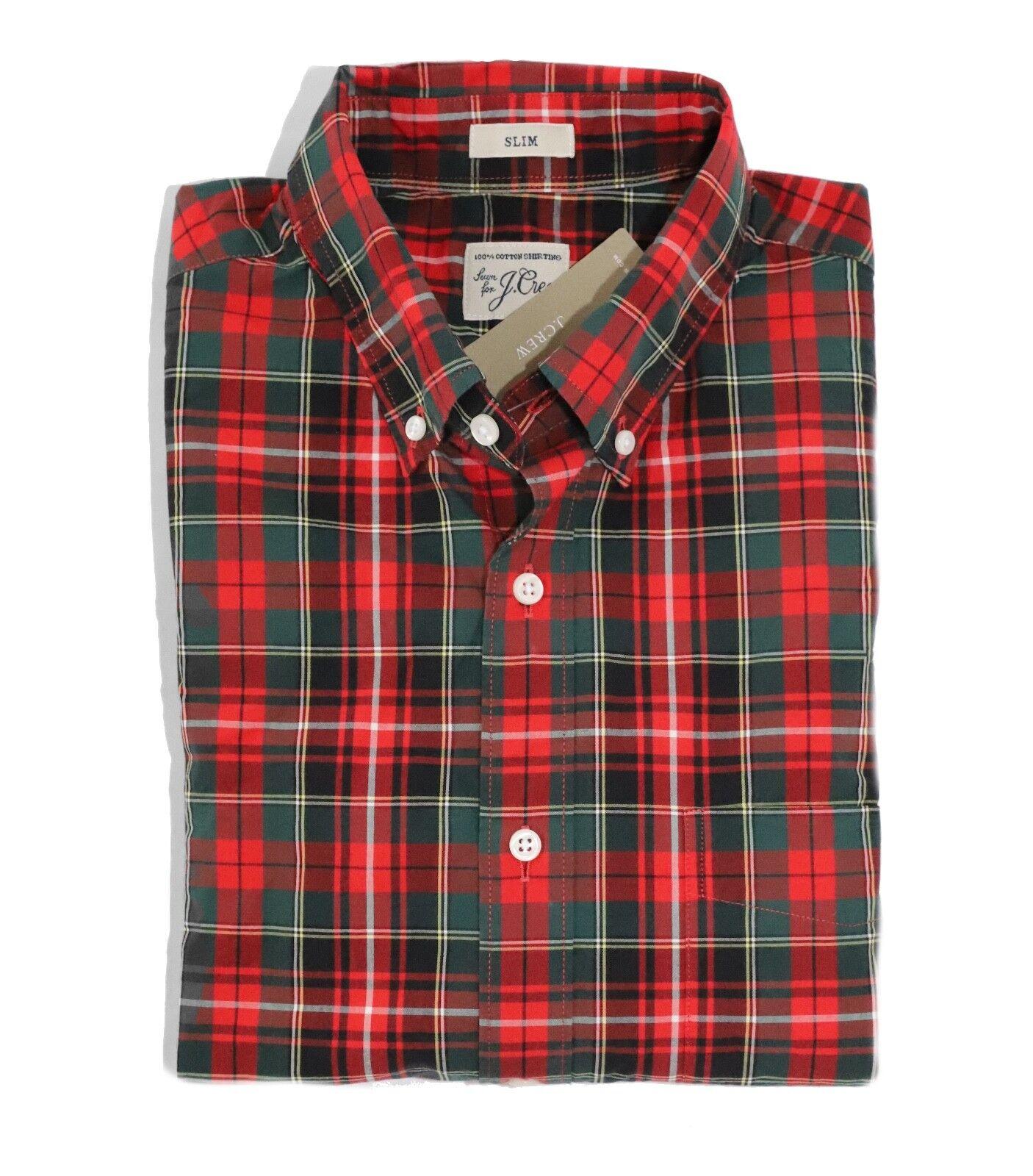 J.Crew - Men's L  - Slim Fit - Cherry Red Green Plaid Secret Wash Cotton Shirt