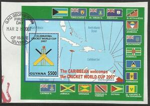 GUYANA-2007-ICC-CRICKET-WORLD-CUP-FLAGS-MAP-Souvenir-Sheet-FINE-USED-on-piece