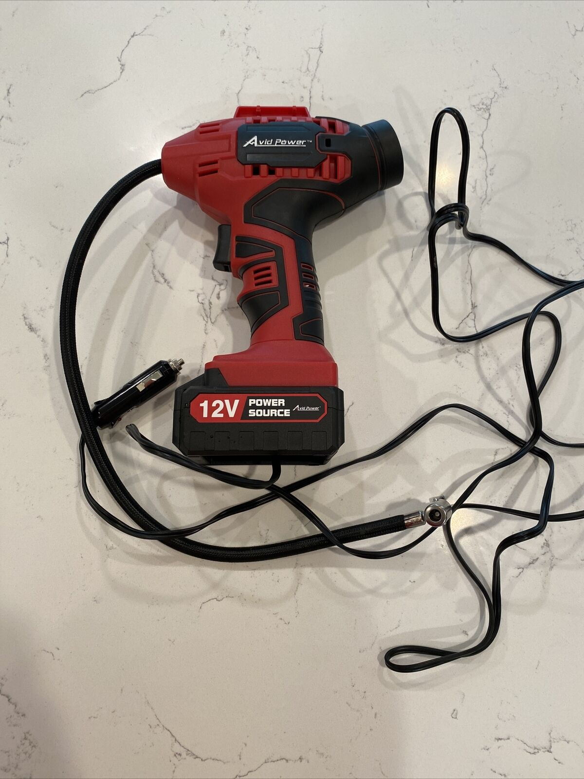 Used AVID POWER Tire Inflator Air Compressor 20V Tire Pump with  Li-ion Battery