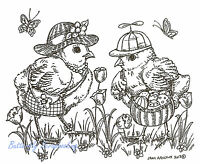 Happy Easter Hat Chicks Wood Mounted Rubber Stamp Northwoods Rubber Stamp