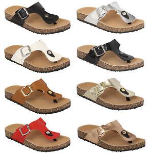 a78413504c21 Ladies Slip On Mule Sandals Womens Flat Toe Post Bukcle Flip Flops ...