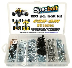 Can Am Ds 450 >> Details About 120pc Bolt Kit Can Am Ds 450 Atv Ds450 Mx Xc X Fenders Body Engine Bombardier