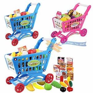 Children shopping trolley cart play food set kids pretend for Kitchen set for 9 year old