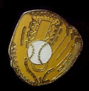 Baseball Glove Lapel Pin Ball Mitt Gold Tan White Insig
