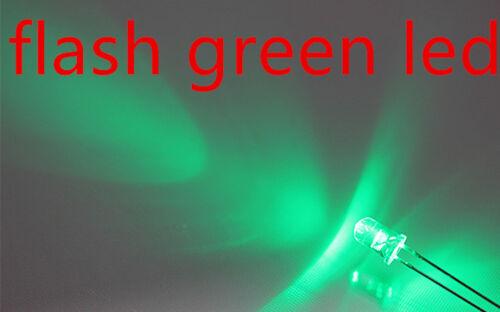 100x a0704 Flash 3mm Green LED ogeled LED automaticamente lampeggiante Gruen LED