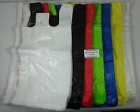 Qty. 500 Plastic T-shirt Bags Retail Handles 11.5 X 6 X 21 Variety Of Colors
