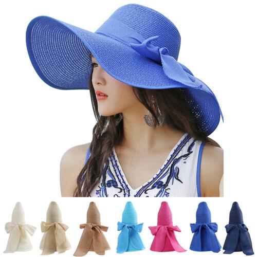 Summer Woman Lady Wide Brim Floppy Sun Beach Straw Hat Roll-up Travel Visor Cap