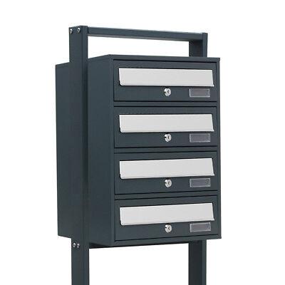 4er Briefkastenanlage Wei/ß Postfach 4 F/ächer Standbriefkasten Briefkasten Postkasten