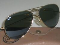 62[]14MM VINTAGE B&L RAY BAN MADE IN USA G15 GOLD PLATED AVIATOR SUNGLASSES