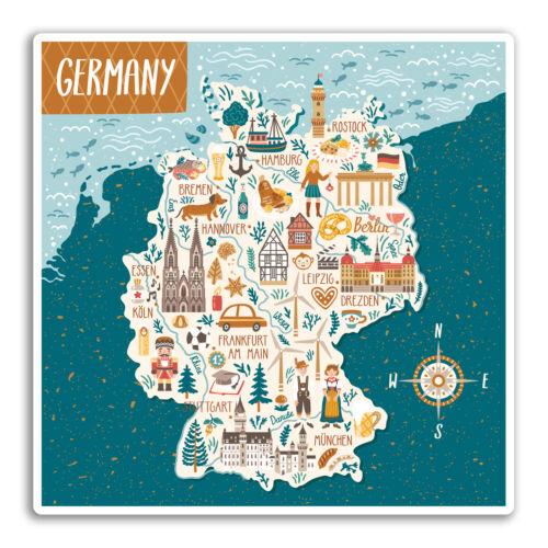 2 X 10cm Alemania Alemán Cool Mapa De Pegatinas De Vinilo #19277 de viaje equipaje de la etiqueta engomada