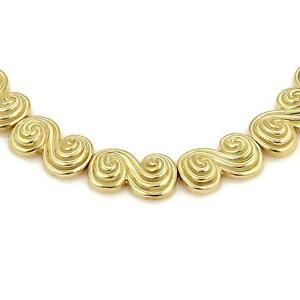 Tiffany-amp-Co-18k-Yellow-Gold-SPIRO-Swirl-Link-Collar-Necklace-142-Grams