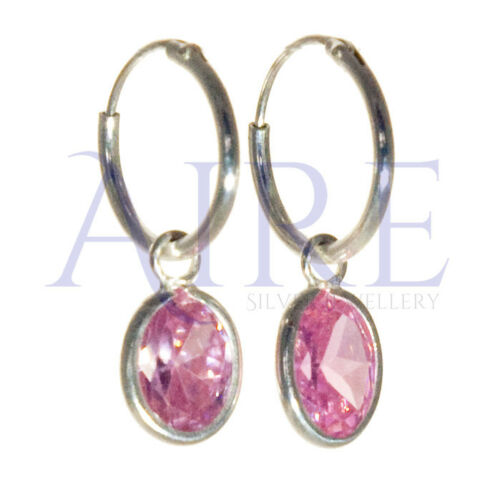 925 Sterling Silver Small Sleeper Style Hoop Earrings with Pink Oval Stone