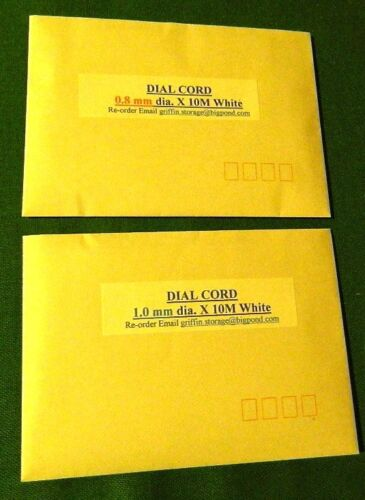 DIAL CORD 0.8 mm OR 1.0 mm WHITE synthetic cord 10M OR 20M suit valve era radio