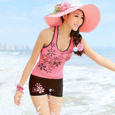 Plus size M-4XL Women sport conservative swimsuits ladies tankini boxer swimwear