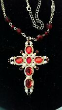 Medieval Renaissance Cross Gold Red Cabachons  Beads Pearls - Free Shipping