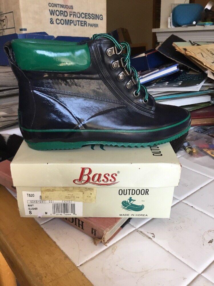 Bass Slusher Insulated Rain Boots Size 8 Navy  Trim Lace Up Round Toe