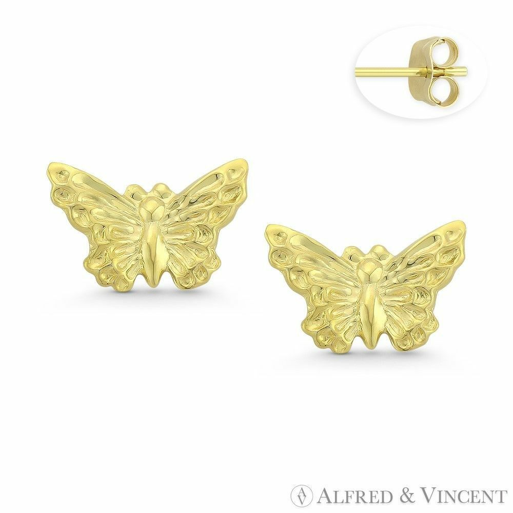 Butterfly Animal Insect Charm Stud Stamping Fashion Earrings in 14k Yellow gold