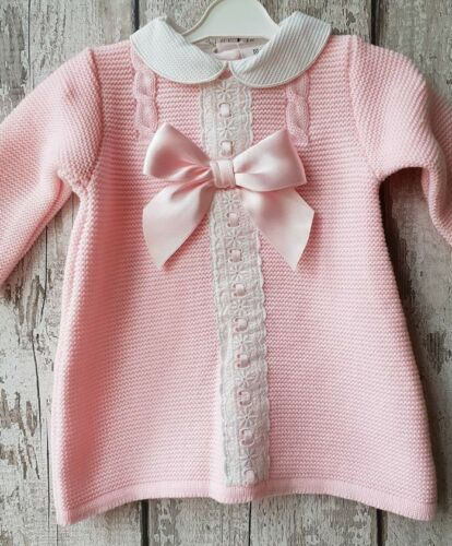 Beautiful Spanish Style Baby Girl Pink Long sleeved Knitted Dress.