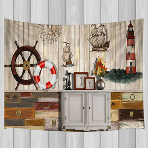 63f9292787 Image is loading Wall-Art-Tapestry-Rudder-Lifebuoy-Desgin-Decor-for-