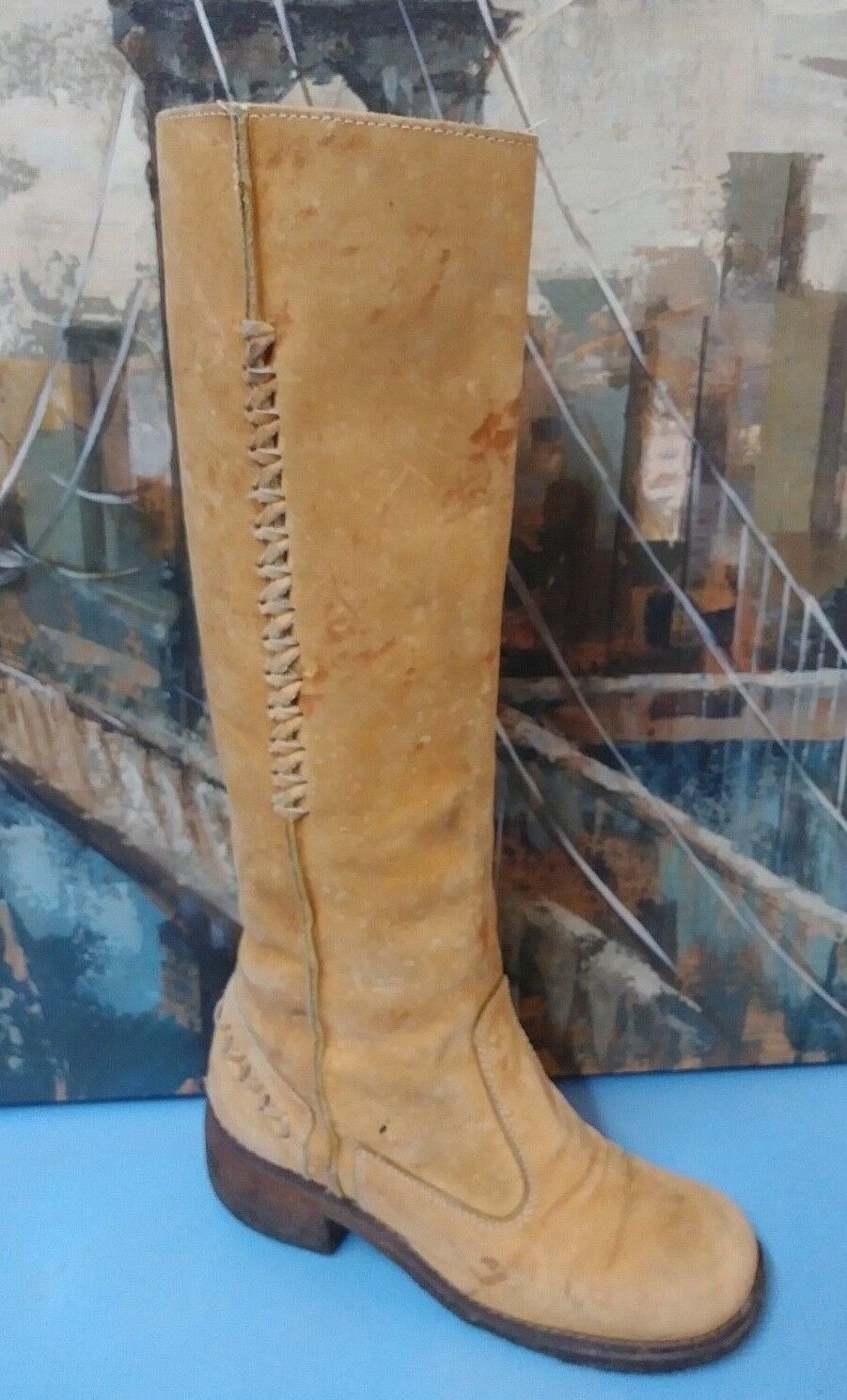 VTG WOMENS TALL LEATHER BROWN BOOTS SIZE 6.5 B