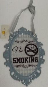 Clayre-Eef-Plaque-en-tole-NOSTALGIE-a-texte-retro-No-Smoking-Noeud-14-20cm