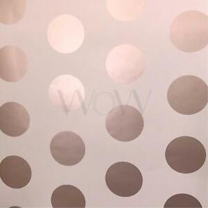 World-Of-Wallpaper-Metallique-Grand-Pois-a-Pois-Dore-Rose-Rose-A617-Cao-5