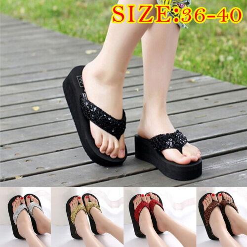 Women/'s Glitter Sequines Bling Platform Sandals Antiskid Wedge Heel Flip Flops B