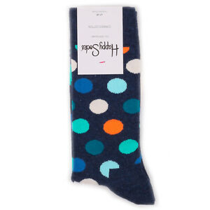 Happy-Socks-Big-Dot-Navy-Multicolor-Combed-Cotton-Socks-BNWT