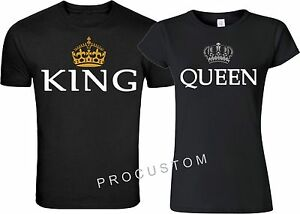 d75b3f93bf King and Queen Couple matching funny cute T-Shirts S-4XL | eBay